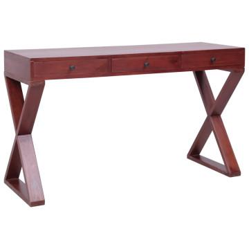 Barna tömör mahagóni számítógépasztal 132 x 47 x 77 cm - utánvéttel vagy ingyenes szállítással