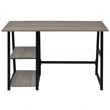 Szürke, tölgy íróasztal 2 polccal - ingyenes szállítás