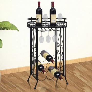 Fém bortartó állvány 9 palackhoz pohártartóval - ingyenes szállítás