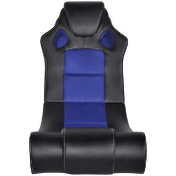 Fekete és kék zenélő műbőr hintaszék - utánvéttel vagy ingyenes szállítással