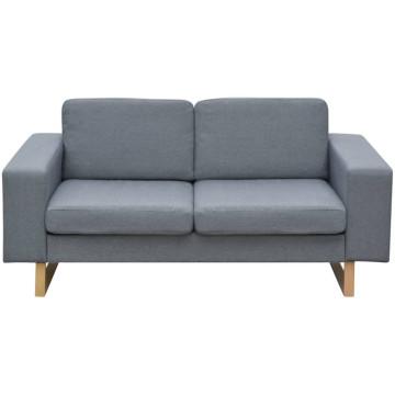 2 személyes kanapé szövet világossszürke - ingyenes szállítás