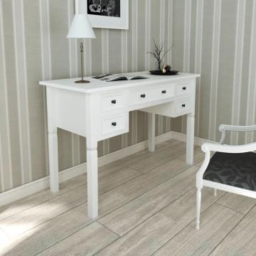 Fehér íróasztal 5 fiókkal - ingyenes szállítás
