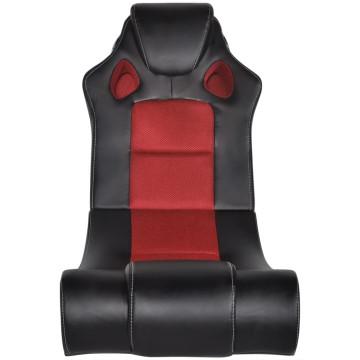 Fekete és piros zenélő műbőr hintaszék - utánvéttel vagy ingyenes szállítással