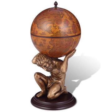 Földgömb alakú bárszekrény Atlasz szoborral 42 x 42 x 85 cm - ingyenes szállítás