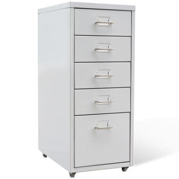 Szürke ötfiókos acél irattartó szekrény 68,5 cm - ingyenes szállítás