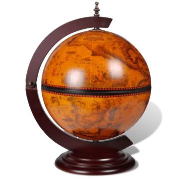 Földgömb alakú fa bárszekrény/bortartó állvány - ingyenes szállítás