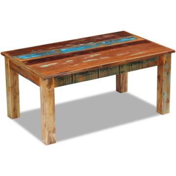 100x60x45 cm tömör újrahasznosított fa dohányzóasztal - utánvéttel vagy ingyenes szállítással