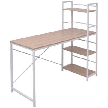 Tölgy íróasztal 4 szintes könyvespolccal - ingyenes szállítás