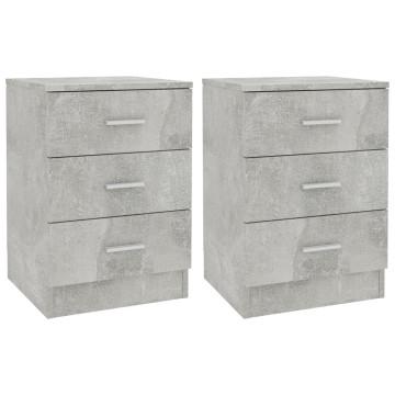 2 db betonszürke forgácslap éjjeliszekrény 38 x 35 x 56 cm - utánvéttel vagy ingyenes szállítással