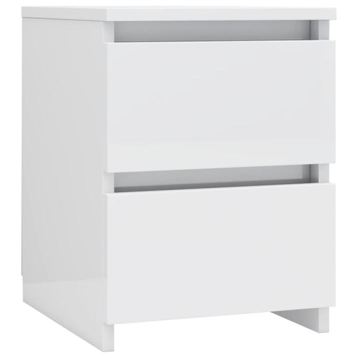 2 db magasfényű fehér forgácslap éjjeliszekrény 30 x 30 x 40 cm - utánvéttel vagy ingyenes szállítással