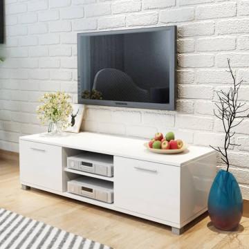 120x40,3x34,7 cm TV szekrény magasfényű fehér - utánvéttel vagy ingyenes szállítással