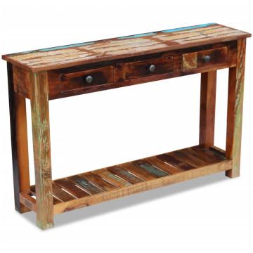 120x30x76 cm Tömör újrahasznosított fa konzolasztal - ingyenes szállítás