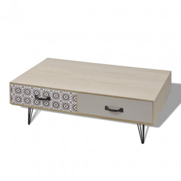 100x60x35 cm bézs dohányzóasztal - utánvéttel vagy ingyenes szállítással