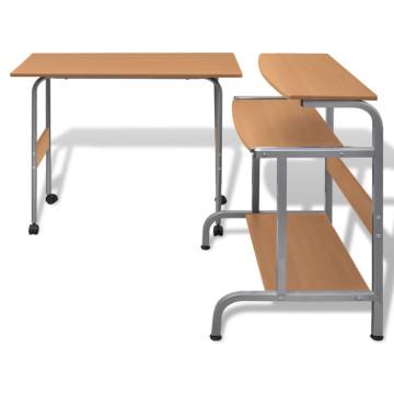 Állítható Számítógépasztal Barna - utánvéttel vagy ingyenes szállítással