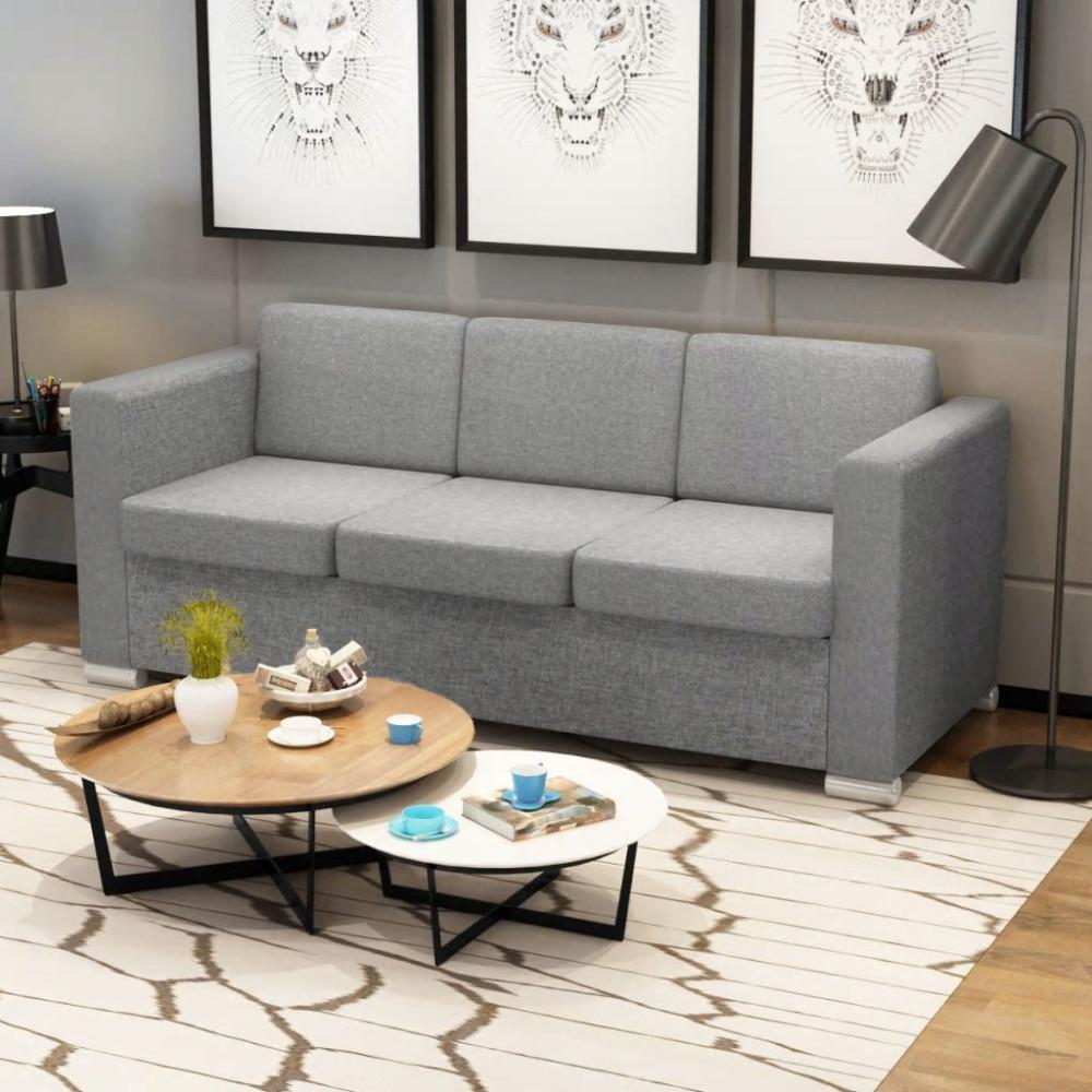 3 személyes szövet kanapé világosszürke - utánvéttel vagy ingyenes szállítással