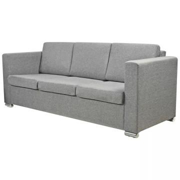 3 személyes szövet kanapé világosszürke - ingyenes szállítás