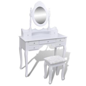 7 fiókos fehér fésülködőasztal tükörrel és zsámollyal - ingyenes szállítás
