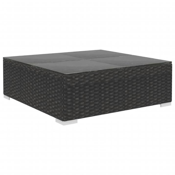 6-részes fekete polyrattan kerti bútorszett párnákkal - utánvéttel vagy ingyenes szállítással