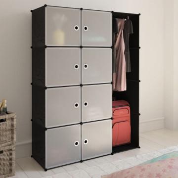 Fekete/fehér szekrény 9 tárolórekesszel 37 x 146 x 180,5 cm - utánvéttel vagy ingyenes szállítással