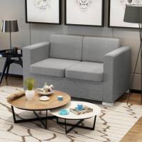 2 személyes szövet kanapé világosszürke - utánvéttel vagy ingyenes szállítással