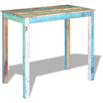 115x60x107 cm tömör újrahasznosított fa étkezőasztal - ingyenes szállítás