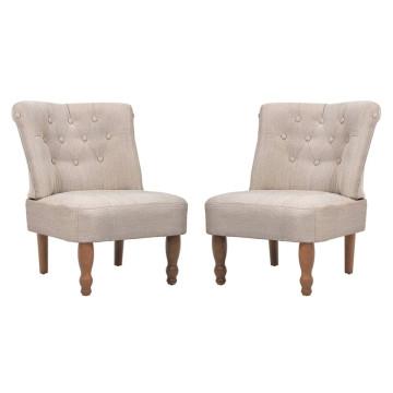 2 db krémszínű francia szövet fotel - ingyenes szállítás