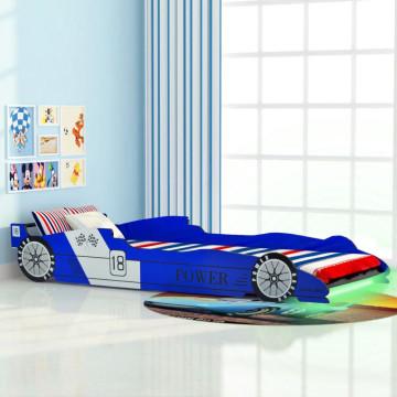 Kék versenyautó alakú LED-es gyerekágy 90 x 200 cm - utánvéttel vagy ingyenes szállítással