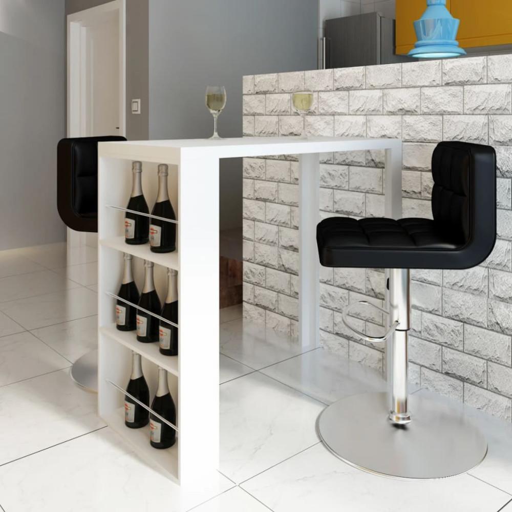 Fehér magasfényű MDF bárasztal bortartóval - utánvéttel vagy ingyenes szállítással