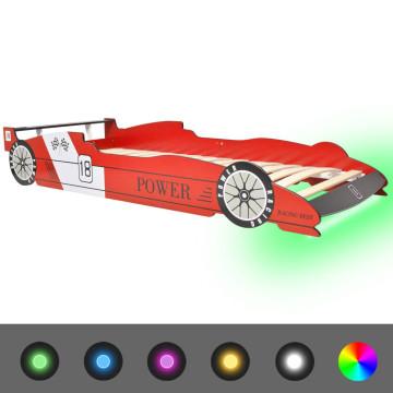 Piros versenyautó alakú LED-es gyerekágy 90 x 200 cm - utánvéttel vagy ingyenes szállítással