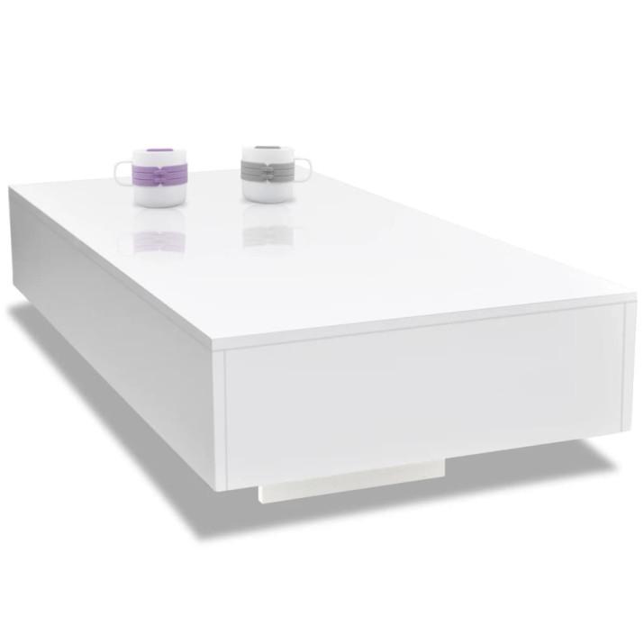 Magasfényű fehér dohányzóasztal - ingyenes szállítás