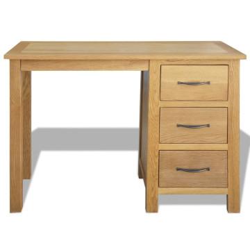 Háromfiókos tömör tölgyfa íróasztal 106 x 40 x 75 cm - ingyenes szállítás