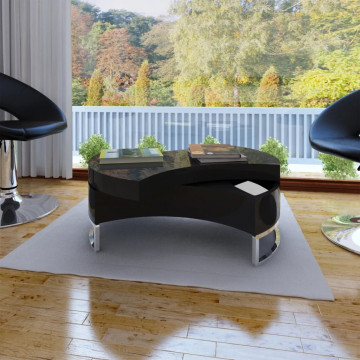 Magasfényű fekete átalakítható dohányzóasztal - ingyenes szállítás