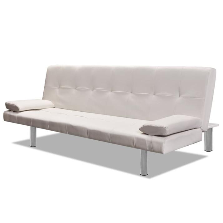 Krémfehér, dönthető műbőr kanapéágy két párnával - ingyenes szállítás