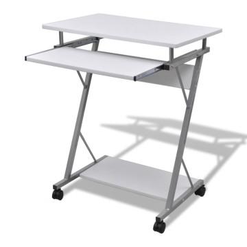 Computer Iróasztal KIhuzható Tálcás Office Diák Asztal Fehér - ingyenes szállítás