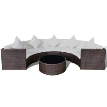 6-részes barna polyrattan kerti bútorszett párnákkal - ingyenes szállítás