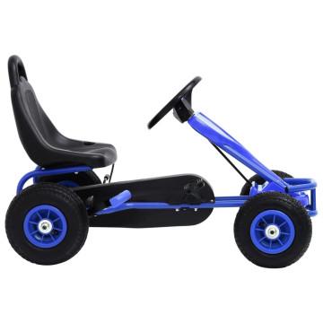 Kék pedálos gokart pneumatikus gumikkal - ingyenes szállítás