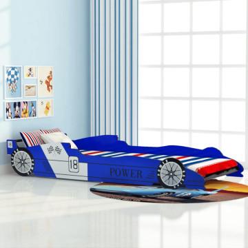 Kék versenyautó gyerekágy 90 x 200 cm - utánvéttel vagy ingyenes szállítással