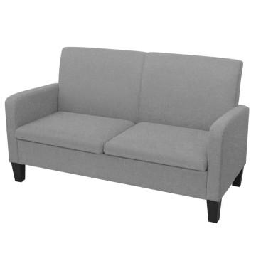 2 személyes világosszürke kanapé 135 x 65 x 76 cm - ingyenes szállítás