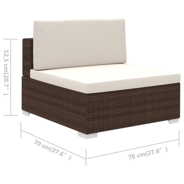 6-részes barna polyrattan kerti bútorszett párnákkal - utánvéttel vagy ingyenes szállítással