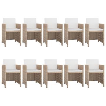11-részes bézs polyrattan kültéri étkezőszett párnákkal - ingyenes szállítás