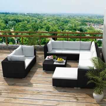 10-részes fekete polyrattan kerti bútorszett párnákkal - ingyenes szállítás