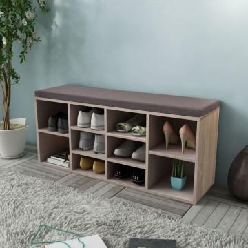 Tölgy-színű cipőtároló pad 10 rekesszel - utánvéttel vagy ingyenes szállítással