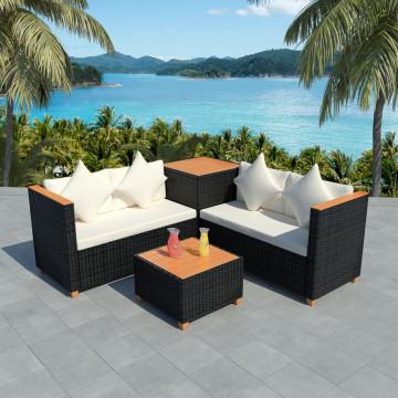 4-részes fekete polyrattan kerti bútorszett párnákkal - ingyenes szállítás