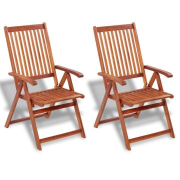 2 db barna összecsukható tömör akácfa kerti szék - utánvéttel vagy ingyenes szállítással
