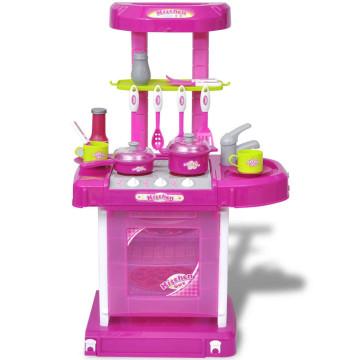 Gyerek játékkonyha fény és hangeffektussal rózsaszín - ingyenes szállítás
