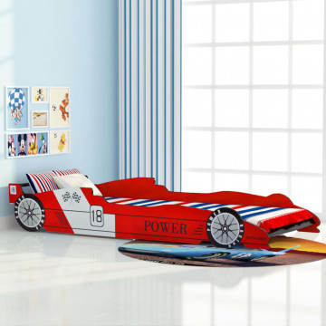 Piros versenyautó gyerekágy 90 x 200 cm - utánvéttel vagy ingyenes szállítással