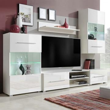 5 részes, fehér fali TV állvány szett LED világítá...