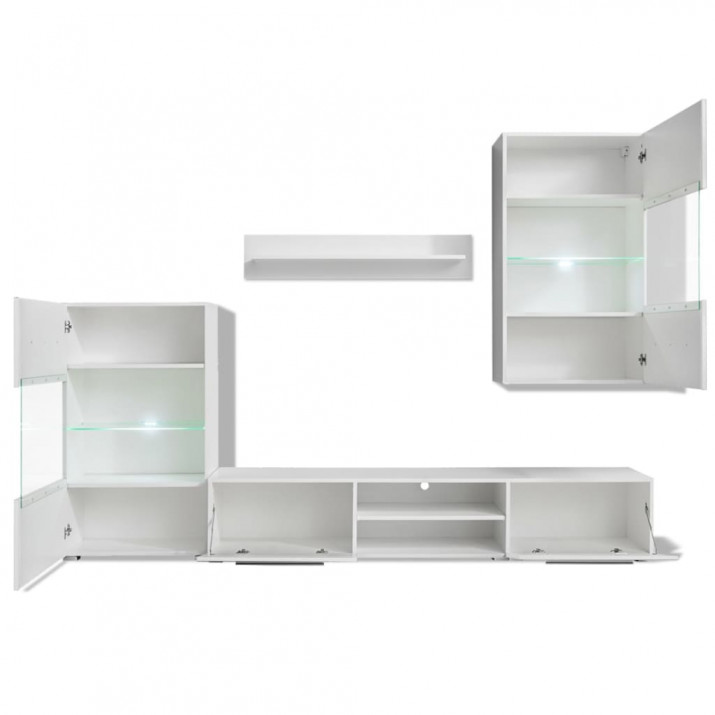 5 részes, fehér fali TV állvány szett LED világítással - ingyenes szállítás