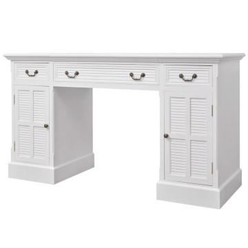 Fehér dupla talapzatú íróasztal 140 x 48 x 80 cm - ingyenes szállítás