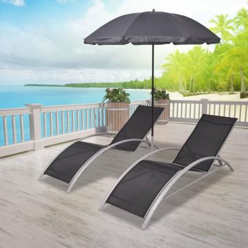 Fekete alumínium napozóágyak napernyővel - utánvéttel vagy ingyenes szállítással